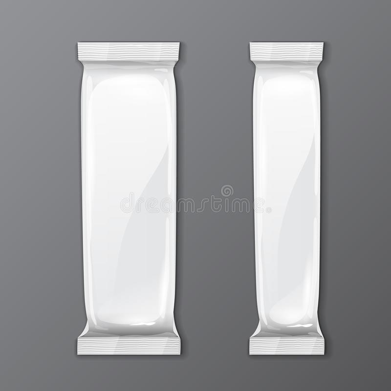 Two White Blank Foil Packaging On Gray Background Sachet Coffee, Salt, Sugar, Pepper Or Spices Stick Plastic Pack. stock illustration