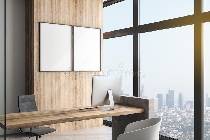 Two white blank posters in modern office with megapolis view. Blank white posters on the wall in modern office in skyscraper with big window, concrete floor royalty free illustration