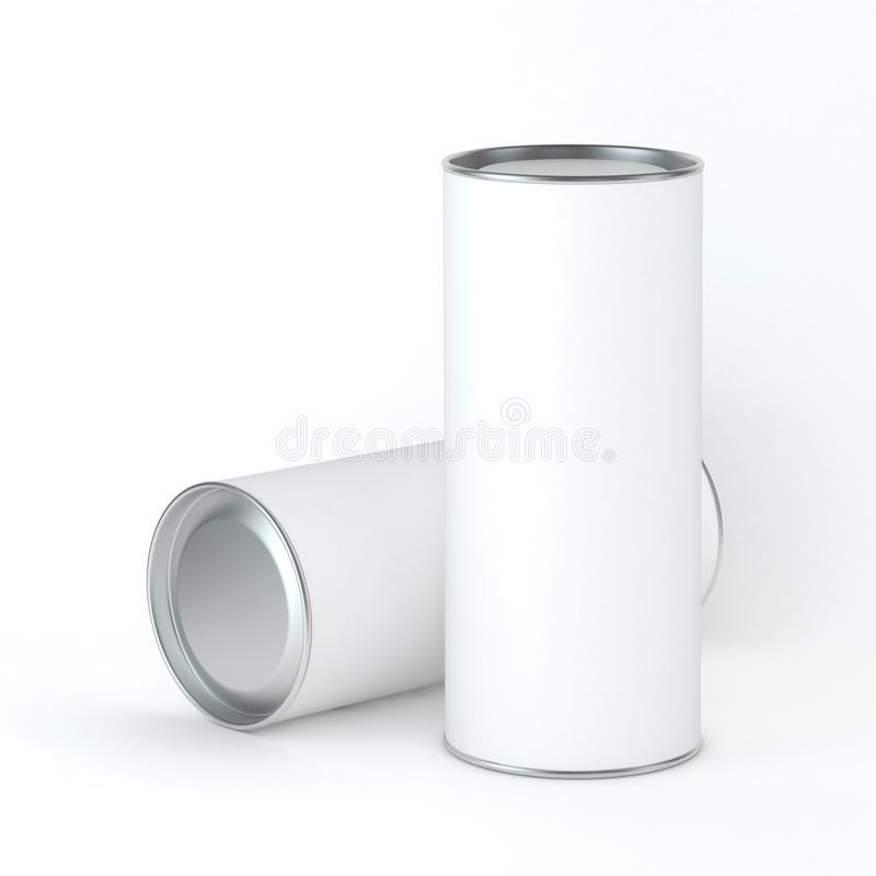 Two White Blank Tin can packaging Mockup for Tea, coffee, dry products, gift box. Place your design. 3d rendering royalty free illustration