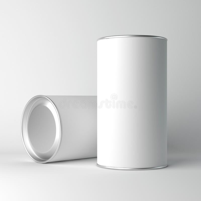 Two White Blank Tin can packaging mockup. Tea, coffee, dry products, gift box. 3d rendering stock illustration