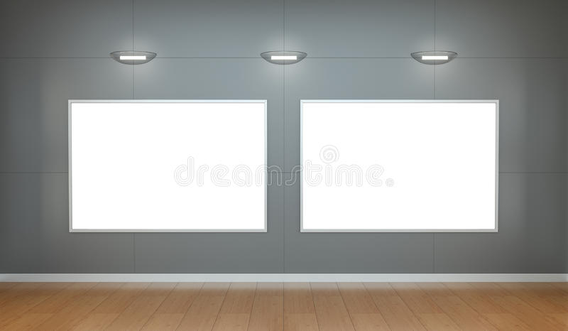 Two white blanks canvas on a wall 3D rendering stock illustration
