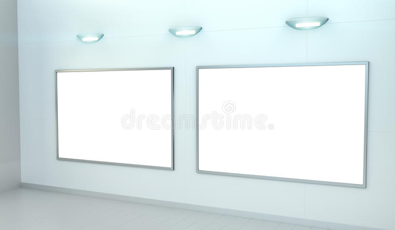 Two white blanks canvas on a wall 3D rendering vector illustration