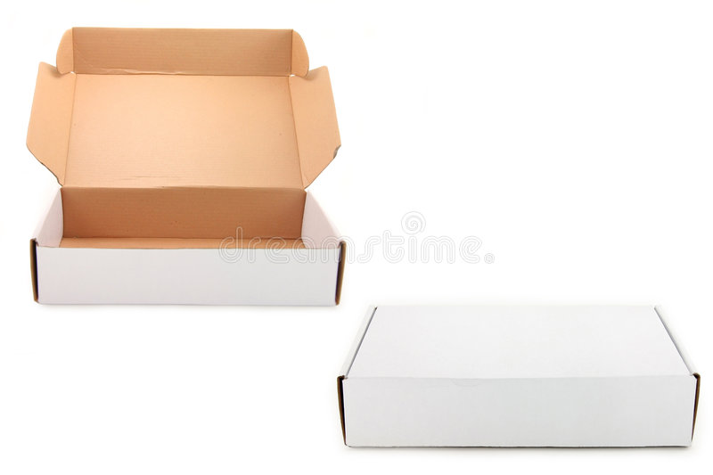 Two white boxes stock image