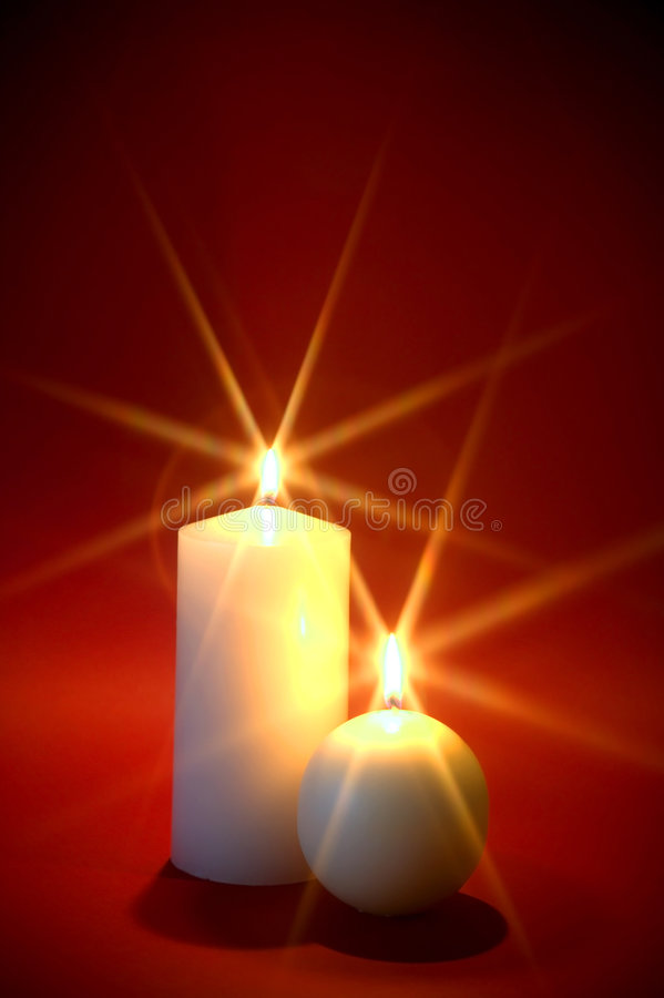 Two white candles. royalty free stock photos