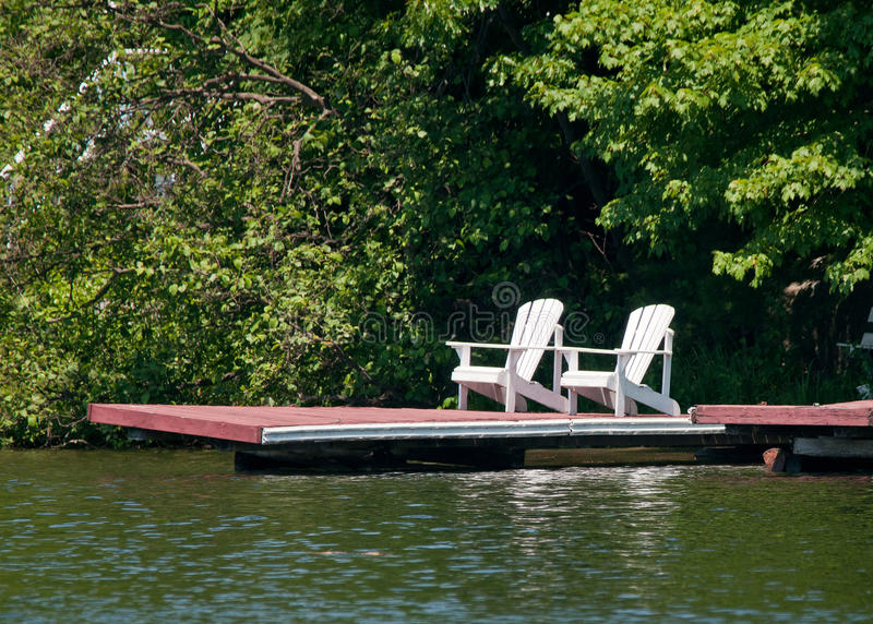Download Two white chairs stock image. Image of wooden, dock, white - 25426411