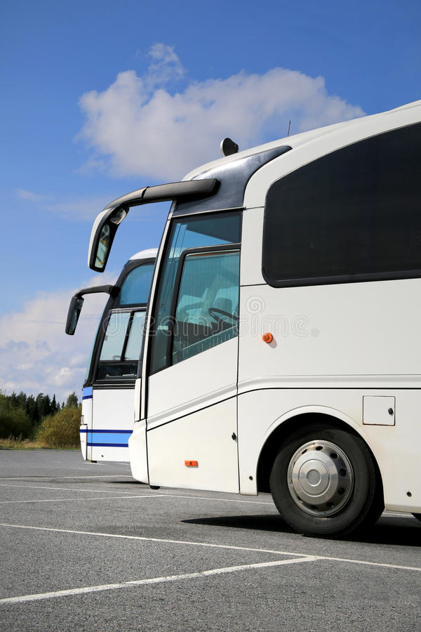 Two White Coach Buses and Summer Sky royalty free stock image