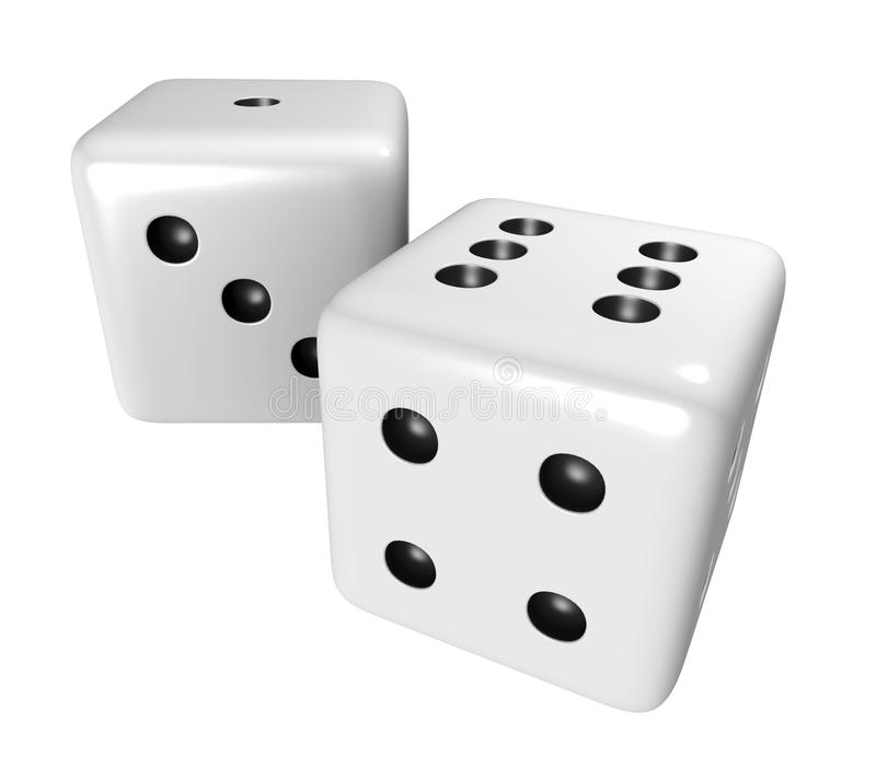 Two White Dice Royalty Free Stock Images