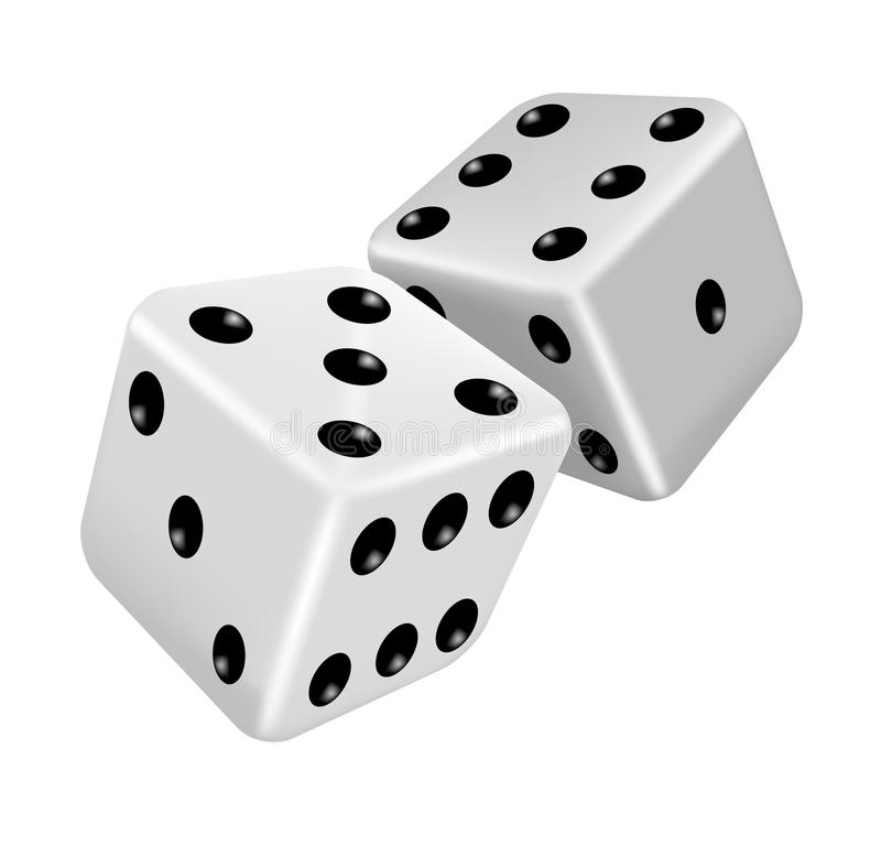 Download Two white dice stock vector. Image of addiction, gaming - 24403032