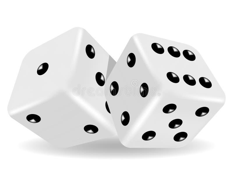 Two white dice stock illustration