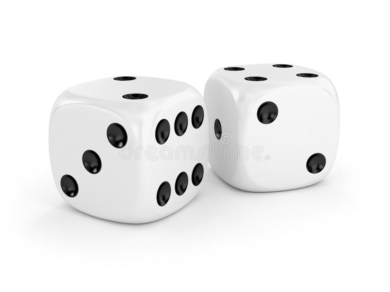 Two white dice royalty free stock image