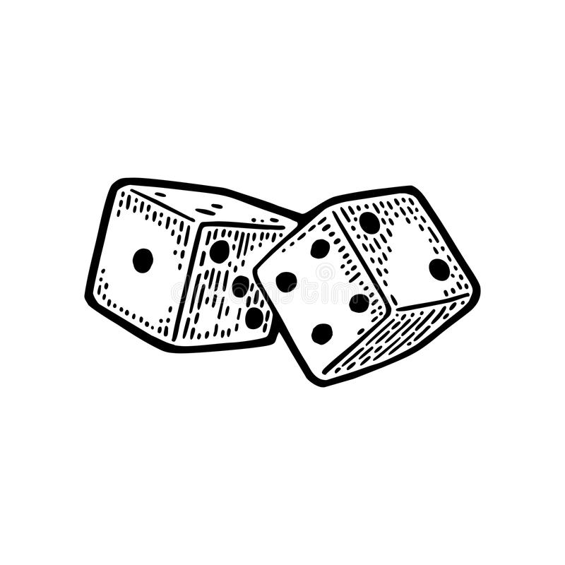 Two white dice. Vintage black vector engraving illustration. Isolated on white background stock illustration