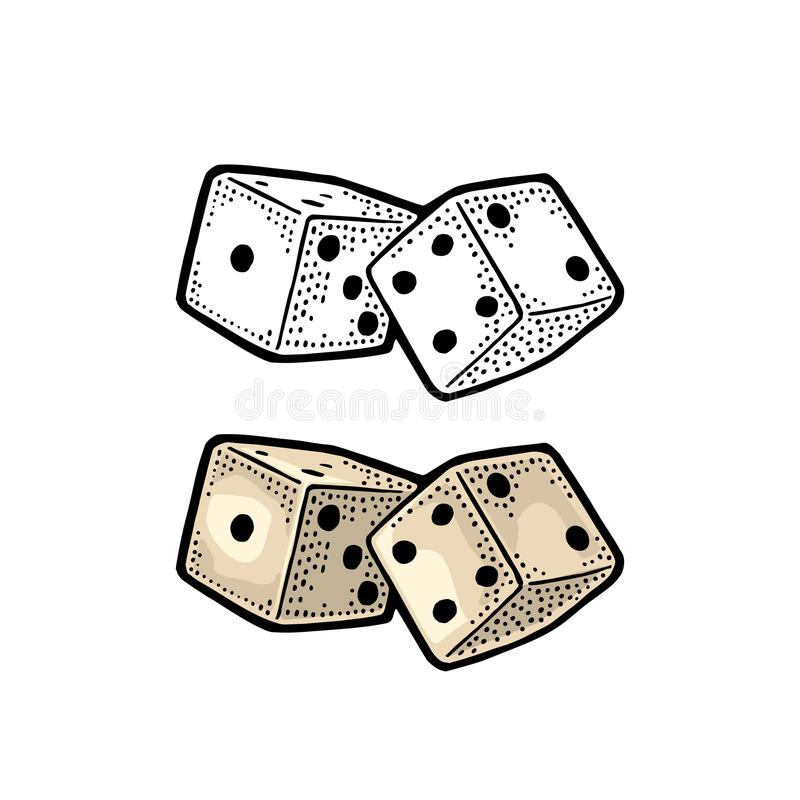Two white dice. Vintage color vector engraving illustration royalty free illustration