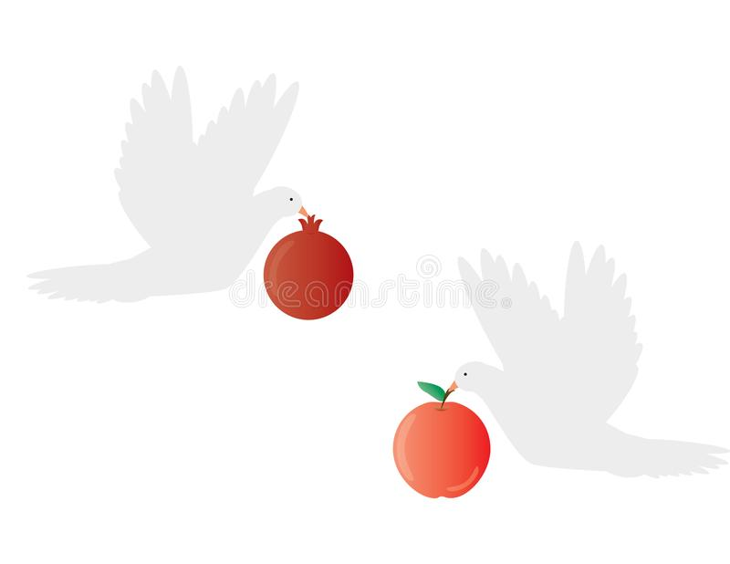 Two White doves holding apple and pomegranate. On white background royalty free illustration