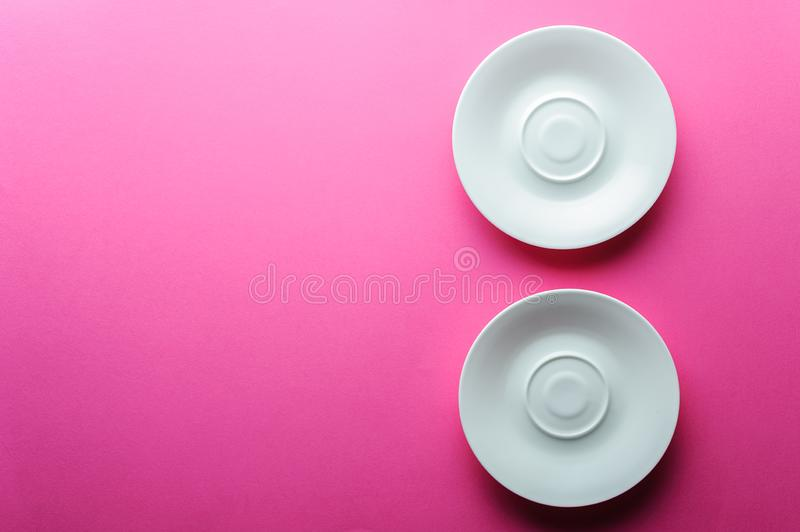 Two white empty plates space for copy stock image