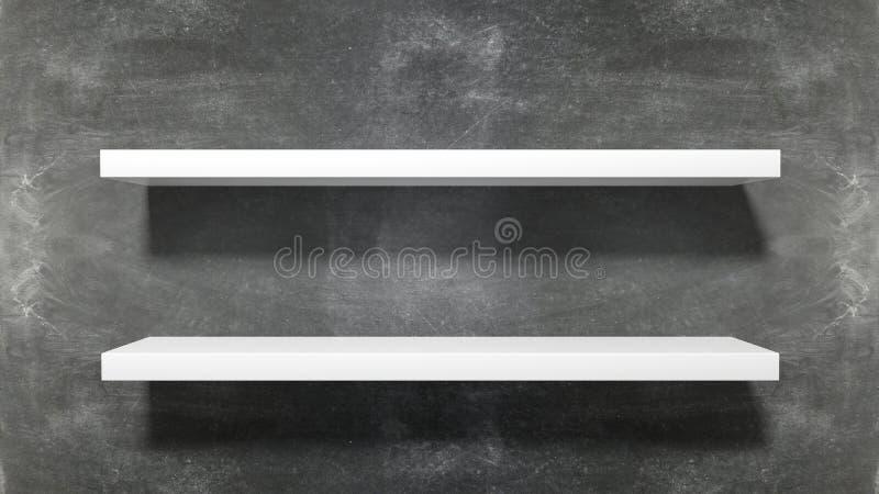 Two white empty shelves stock illustration