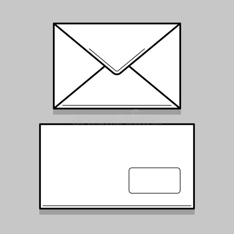 Two white envelopes for identy design. Two white thin line envelopes for identy design. Blank envelopes on gray background royalty free illustration
