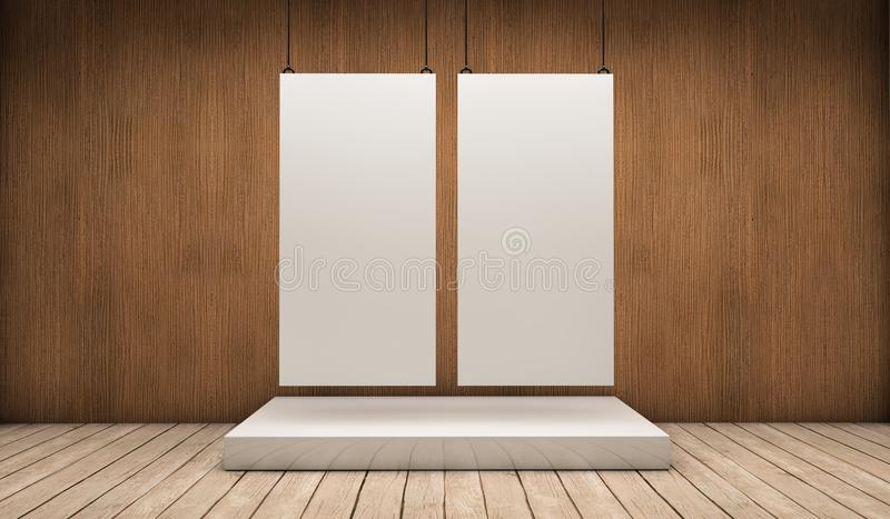 Two white exhibitor. White empty exhibitor board hang in a room with beautiful light stock illustration