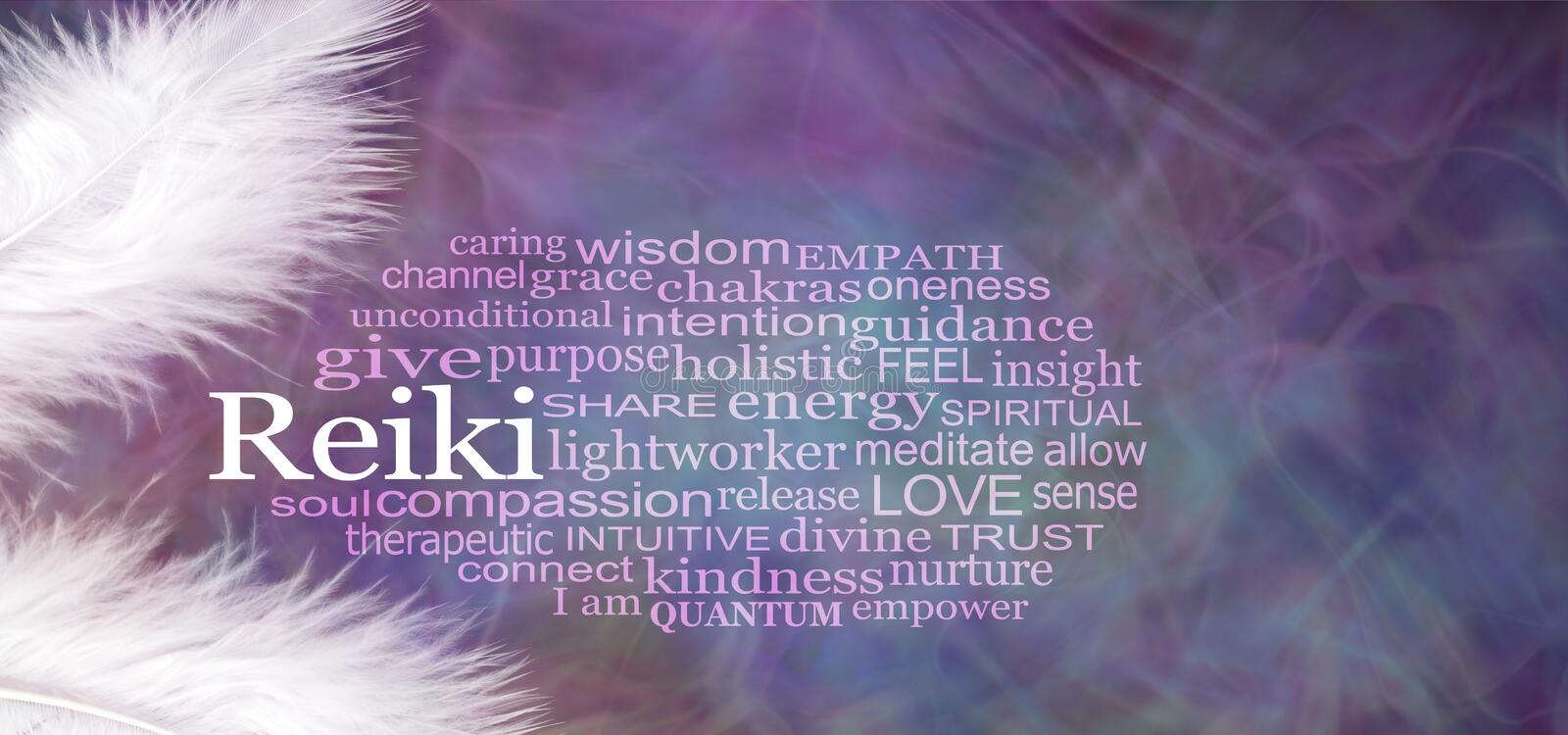 Angelic REIKI Word Cloud Rustic Banner. Two white feathers with a REIKI word cloud between against a wispy purple pattern background stock image