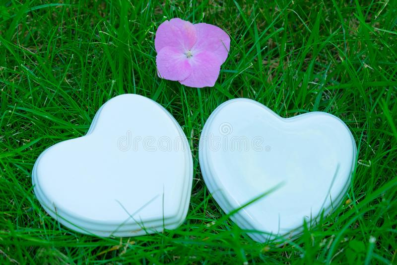 Two white glossy porcelain hearts and a flower on green grass; Summer. Wedding card; A love note. Copy space. Two white glossy porcelain hearts and a pink flower royalty free stock images