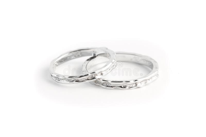 Download Two White Gold Rings Stacked Together Stock Image - Image: 24830033