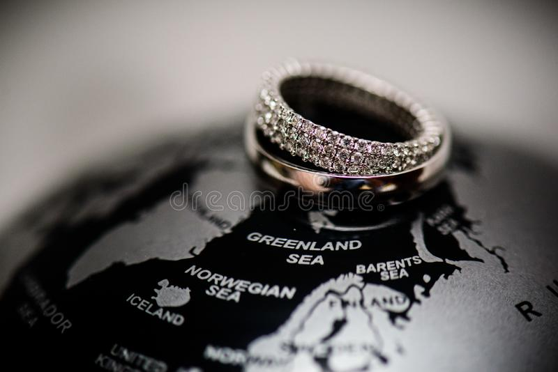 Diamond wedding rings. Relationship, commitment, love royalty free stock photo