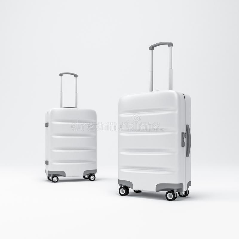 Two White Luggage Mockup, Suitcase, Baggage, 3d Rendering ...