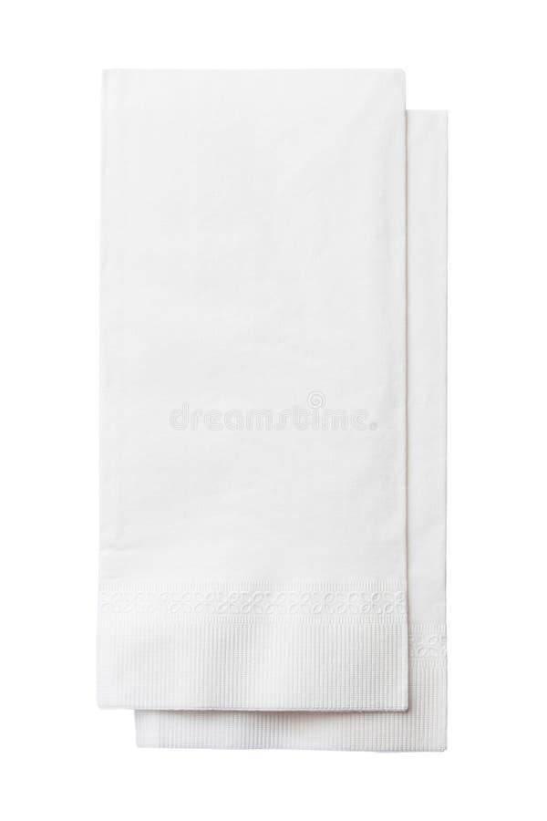 Two White Paper Napkins Isolated on White royalty free stock photo