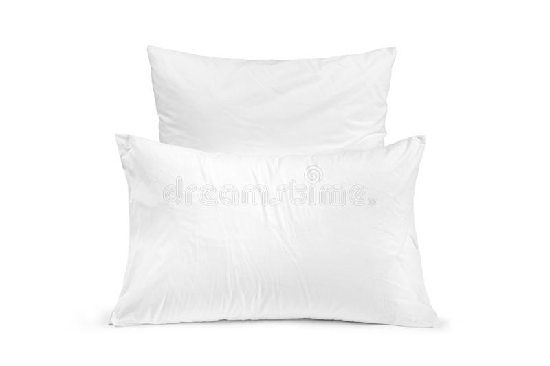 Two white pillows in a row isolated, pillows on a white background royalty free stock images