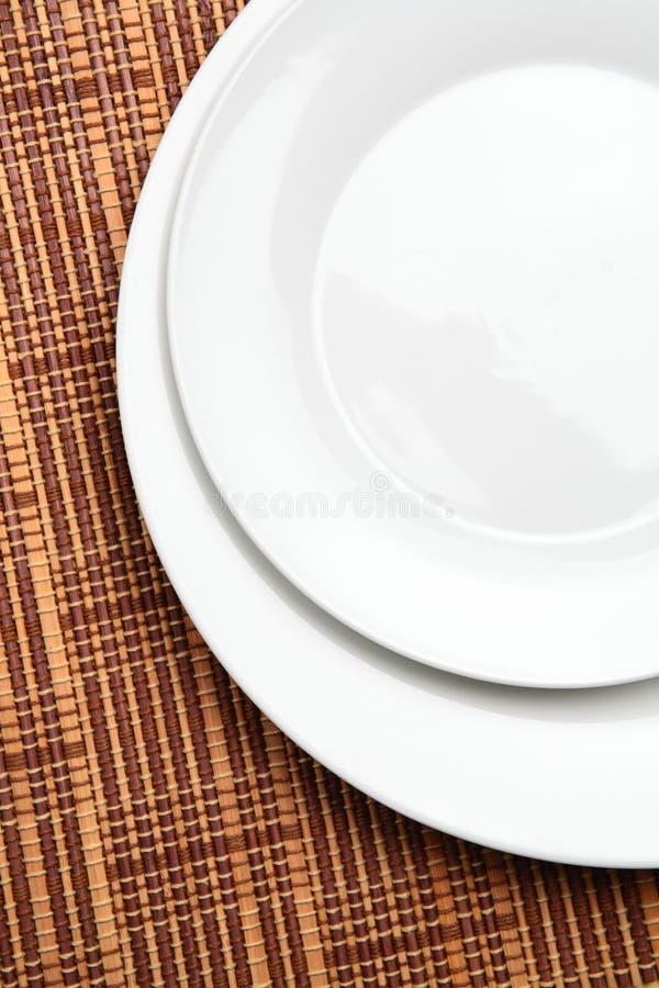 Two White Plates stock photo