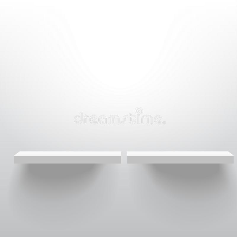 Two white realistic vector shelves attached to the wall. Advertising equipment mockup in 3d style. Empty template for product dis vector illustration