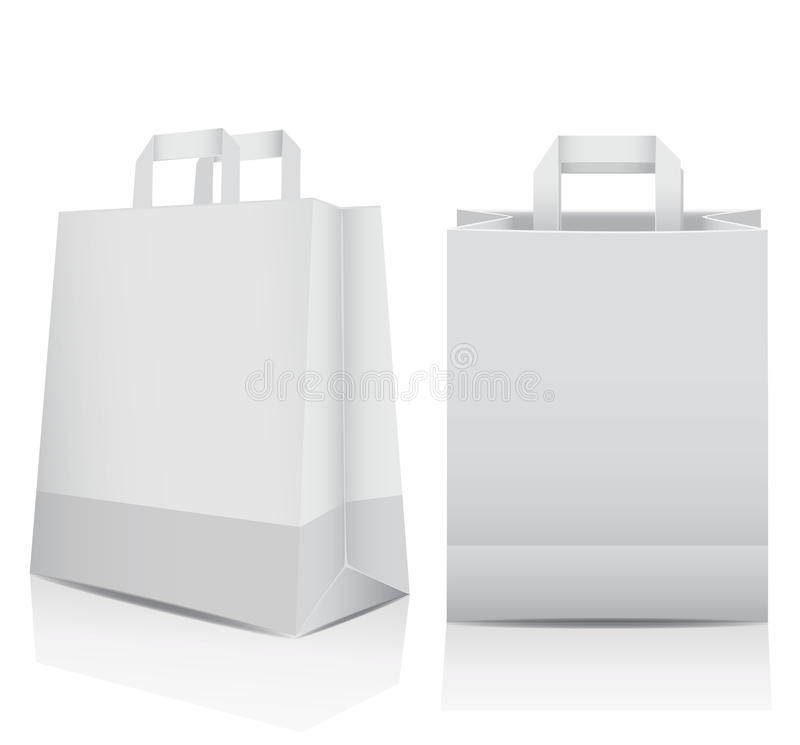 Two white shopping carrier bags. Two plain white recyclable, paper shopping carrier bags with reflections and copyspace for your branding, marketing or royalty free illustration