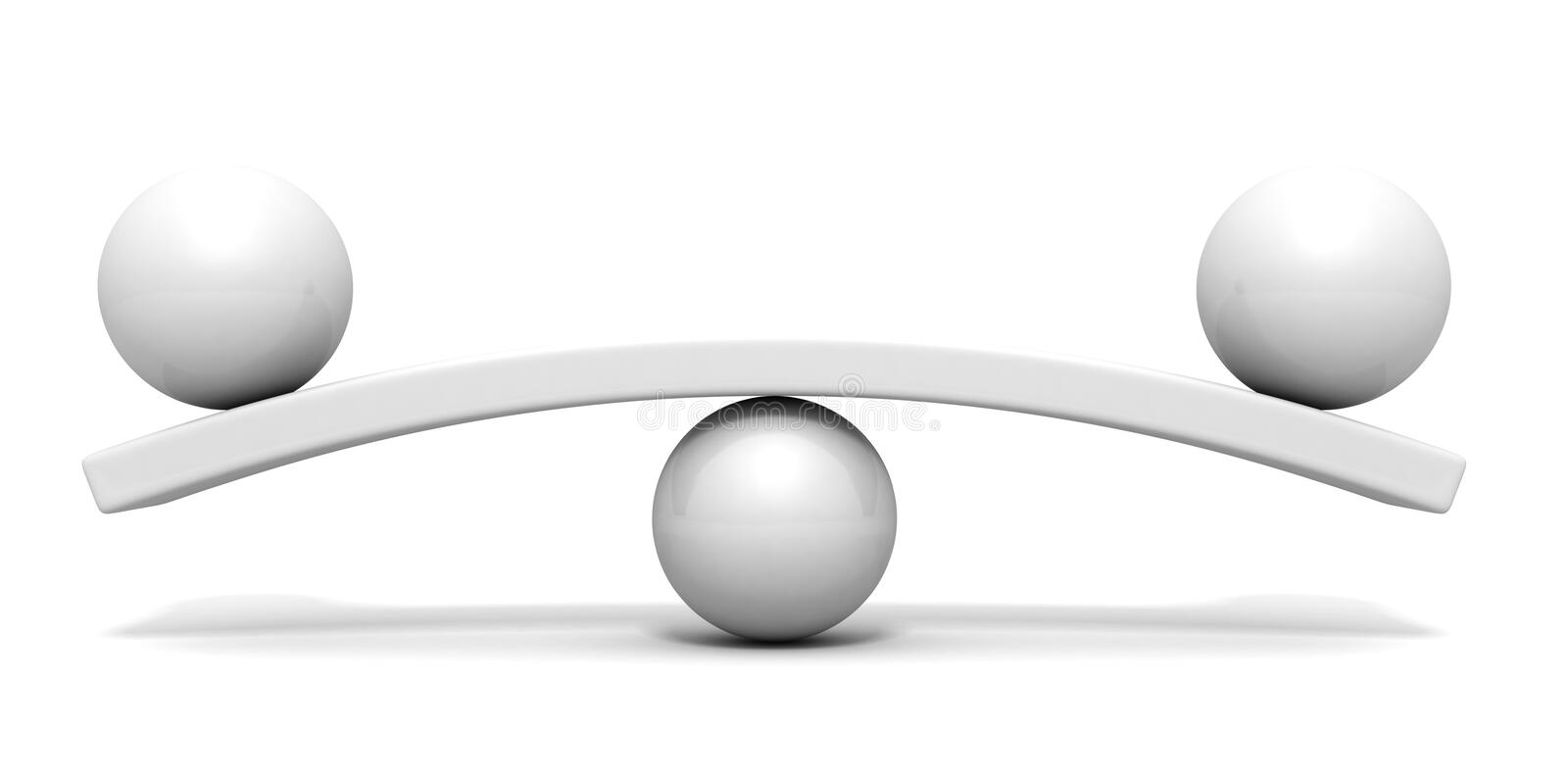 Two white spheres scale balance concept vector illustration