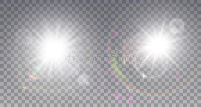 Two white sun with lens flare royalty free illustration