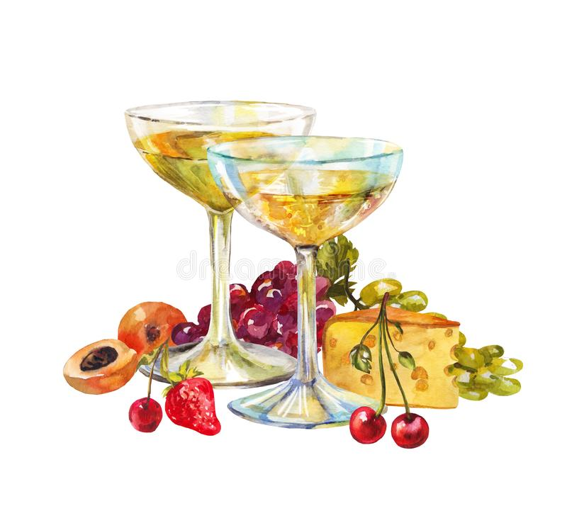 Two wide, large glasses of champagne or light wine. Watercolor still life with fruit and cheese isolated on white. Illustration. Beautiful watercolor still life vector illustration