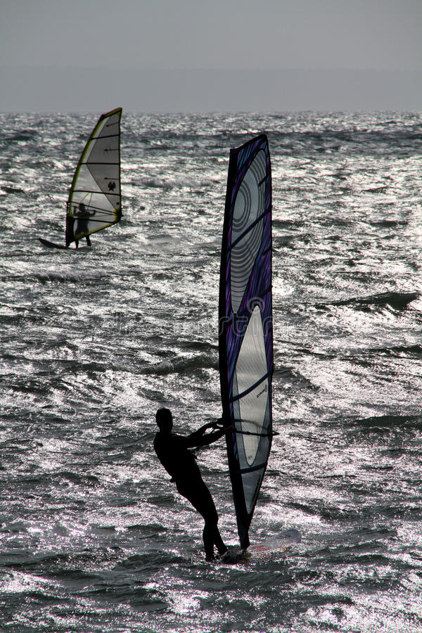 Free Two Wind Surfers. Stock Photo - 19229090