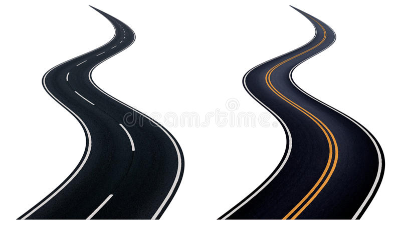 Two winding road. Two winding road isolated on white background stock illustration