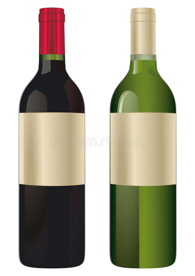 Two wine bottles vector illustration