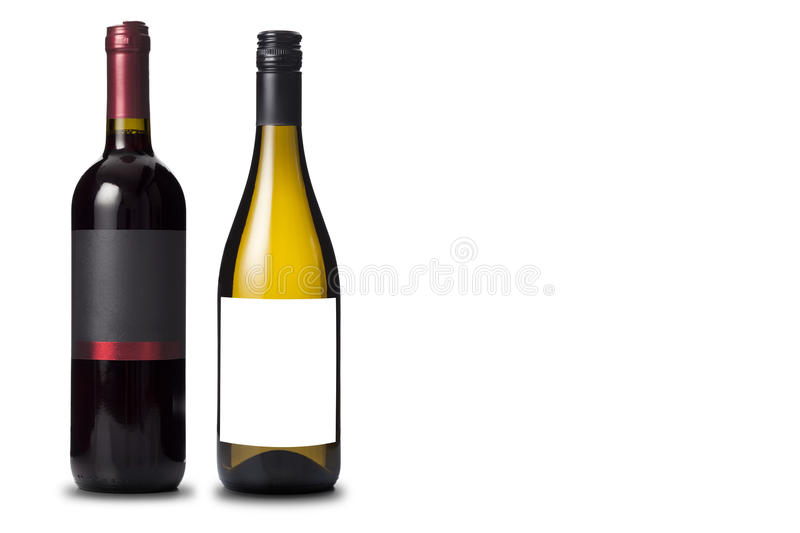 Two wine bottles black and white stock image