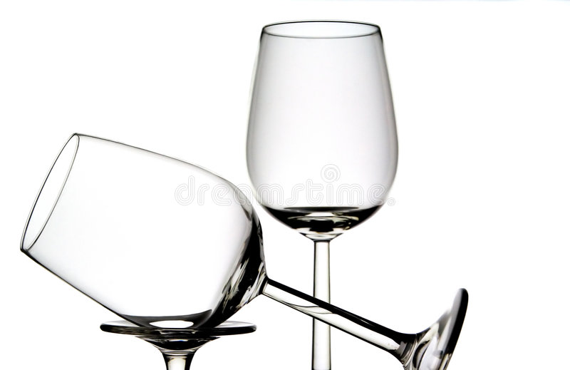 Two wine glasses. In different positions stock photo