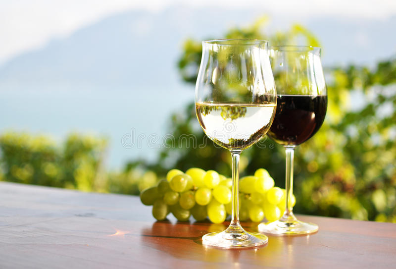 Wine and grapes. Two Wine glasses and grapes stock photography