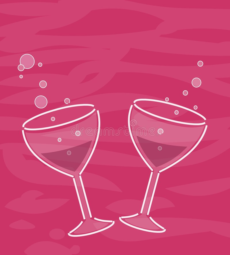 Two wineglasses. Two wine glasses and bubbles vector illustration