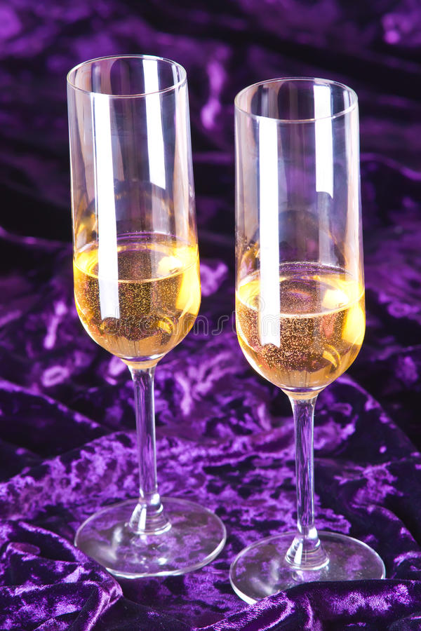 Download Two Wineglasses With Champagne On Velvet Stock Image - Image: 25496909