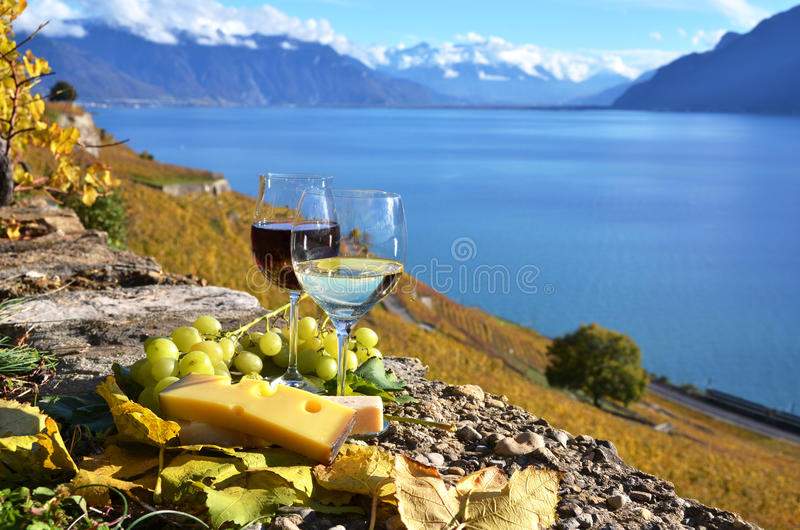 Download Two Wineglasses, Cheese And Grapes Stock Image - Image of field, harvest: 39512869
