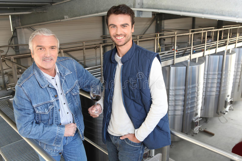 Two winegrowers in a winery royalty free stock photography