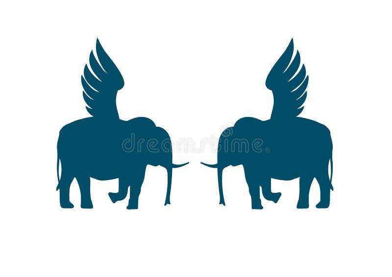 Two winged elephants. Hand drawn  illustration isolated on white, logo, t-shirt design royalty free illustration