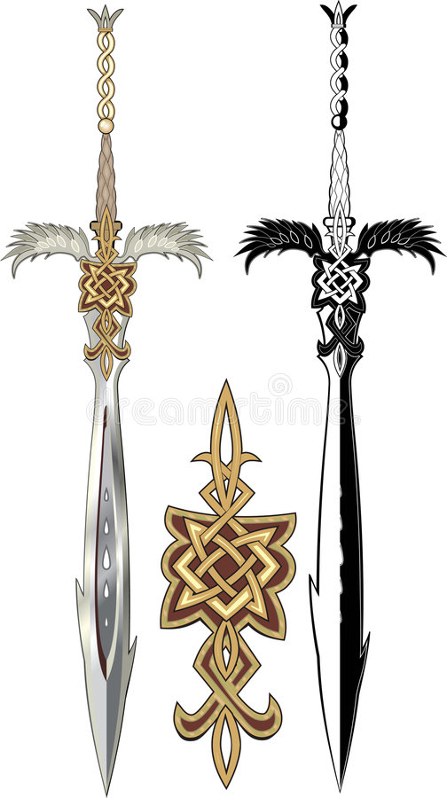 Royalty Free Clip Art Vector Logos of Black and White Tribal Winged Swords  by Vector Tradition SM - #7956