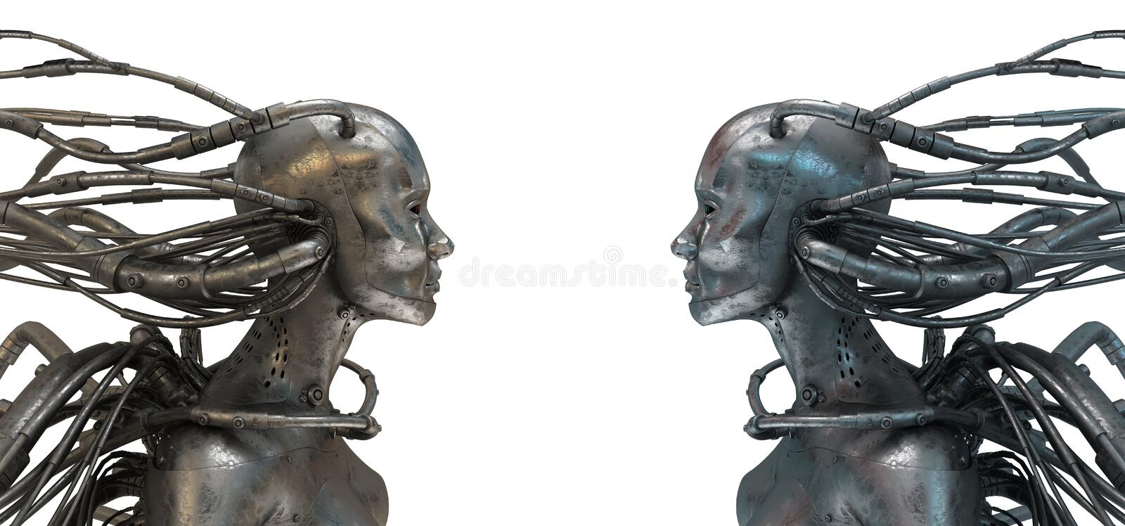 Download Two Wired Robots On White Stock Image - Image: 16511391