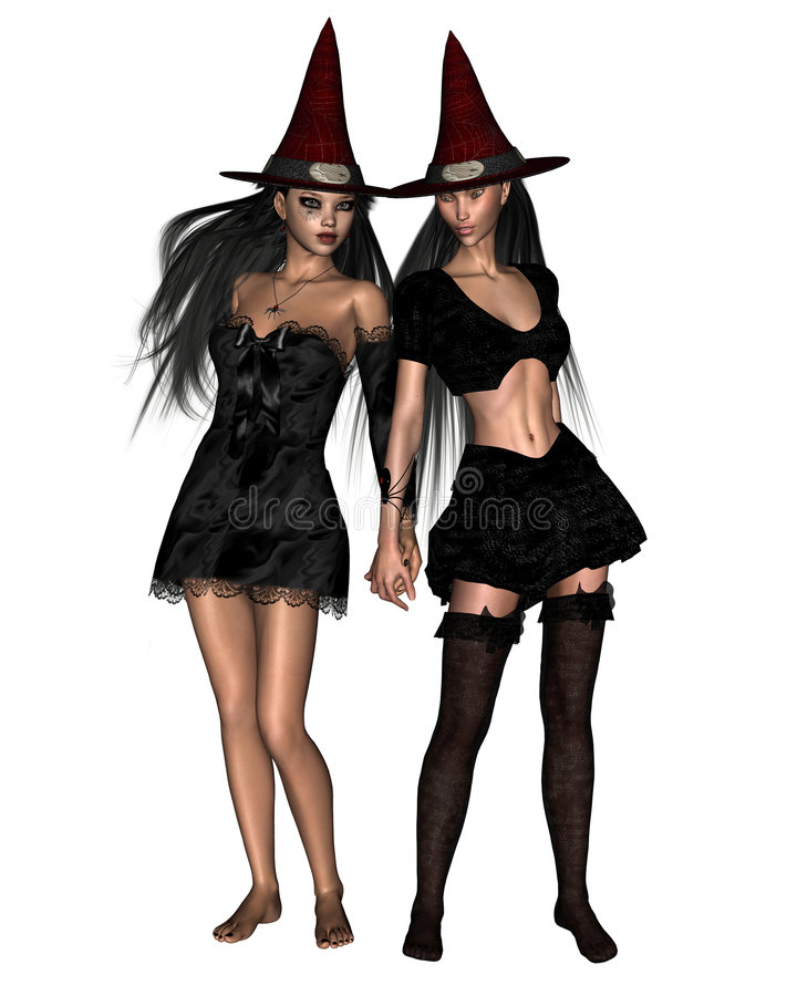 Download Two Witches - 2 stock illustration. Image of hair, female - 6851207