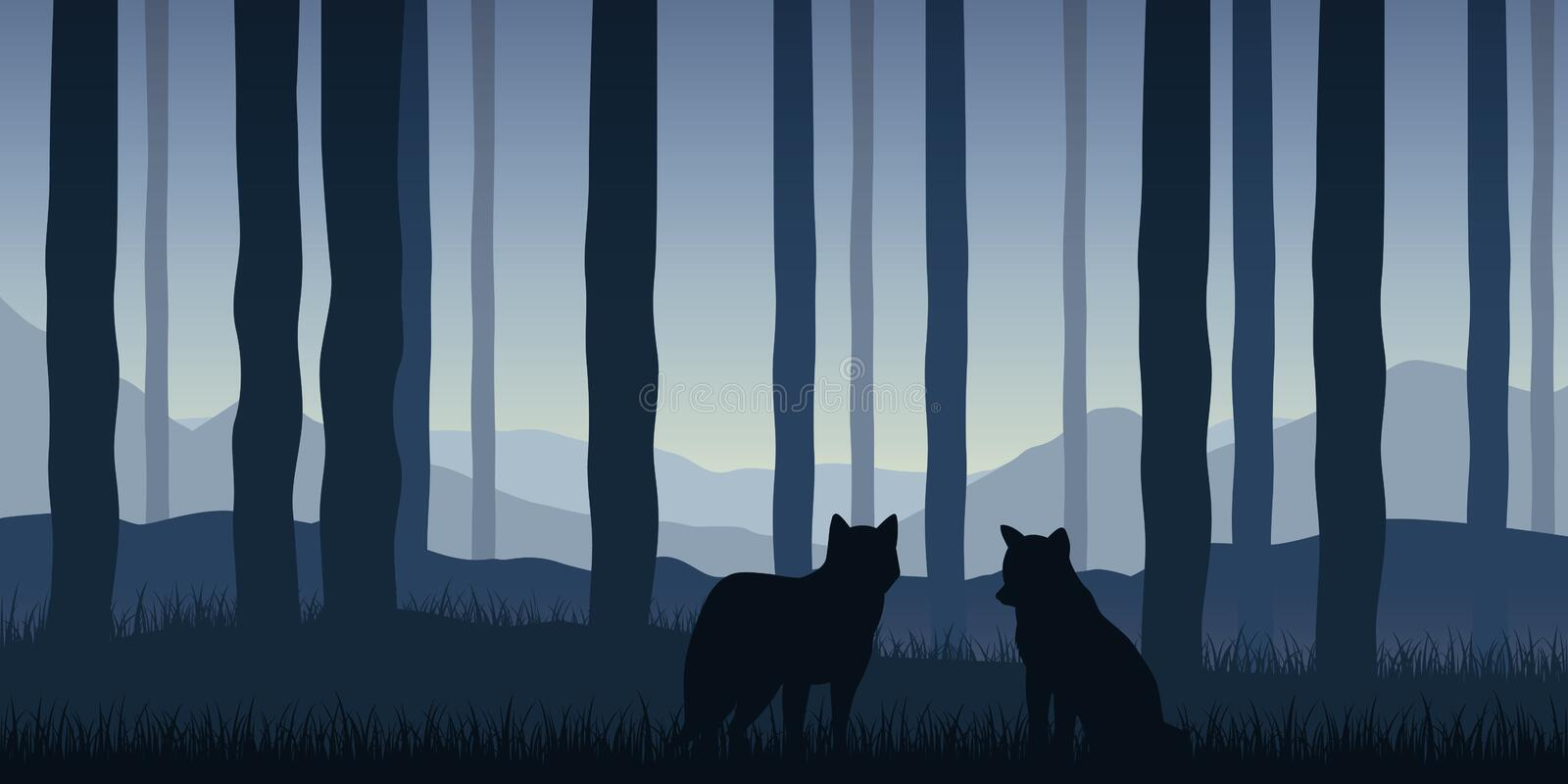 Two wolves in the forest blue wildlife nature landscape stock illustration