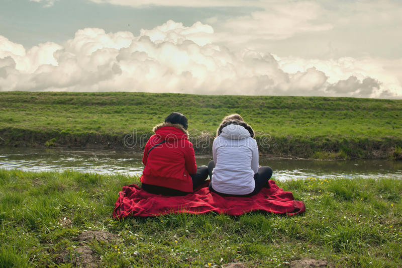Two Woman Friends stock images